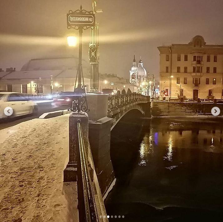 """""""В Петербурге снег. Центр города - замечательное место"""". Фото Скриншот Instagram: @bmp_spb"""