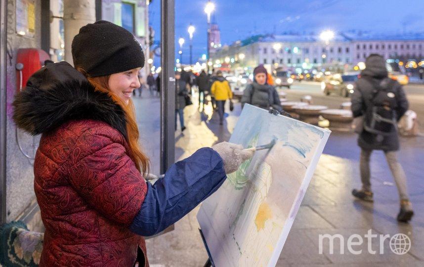 """200 художников одновременно рисовали заснеженный Невский проспект. Фото Алена Бобрович, """"Metro"""""""