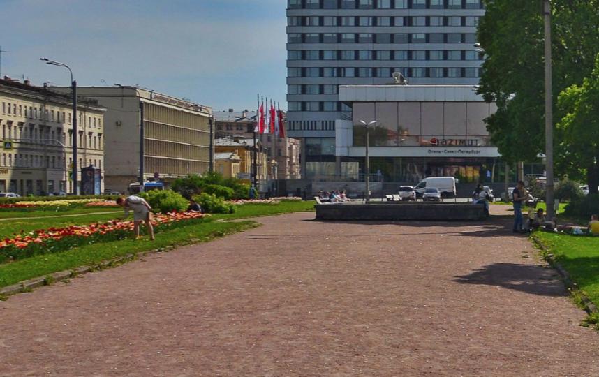 Фонтан на Лермонтовском пр. Фото скриншот Яндекс.Карты.