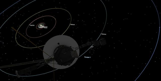 """В настоящее время космический зонд """"Вояджер-1"""" стремительно удаляется от нашей Солнечной системы."""