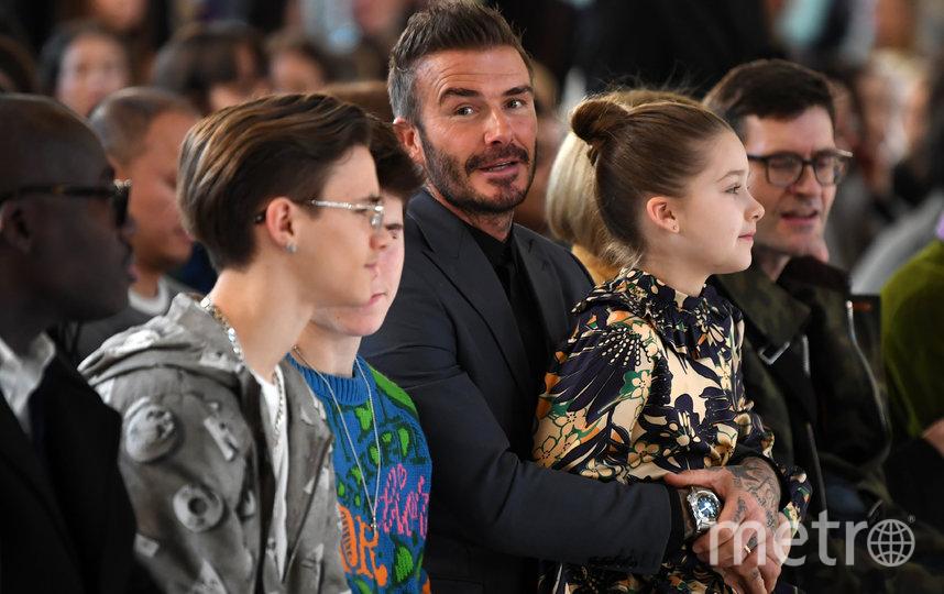 Дэвид Бекхэм с сыновьями Ромео и Крузом и дочерью Харпер. Фото AFP