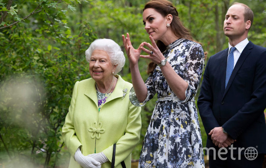 Архивное фото: Елизавета II, Кэтрин и Уильям. Фото Getty