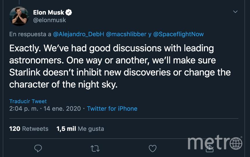 Илон Маск заявил, что его компания позаботиться о том, чтобы не препятствовать наблюдениям астрономов. Фото скриншот  https://twitter.com/elonmusk/status/1217175688228159488
