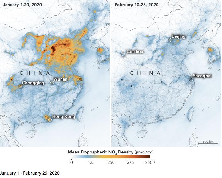 NASA опубликовало схему, демонстрирующую, как распространяющийся по миру коронавирус повлиял на воздух в Китае. Фото NASA Earth Observatory