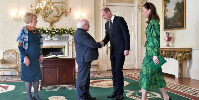 Герцог и герцогиня Кембриджские встретились с президентом страны Майклом Хиггинсом и его супругой.