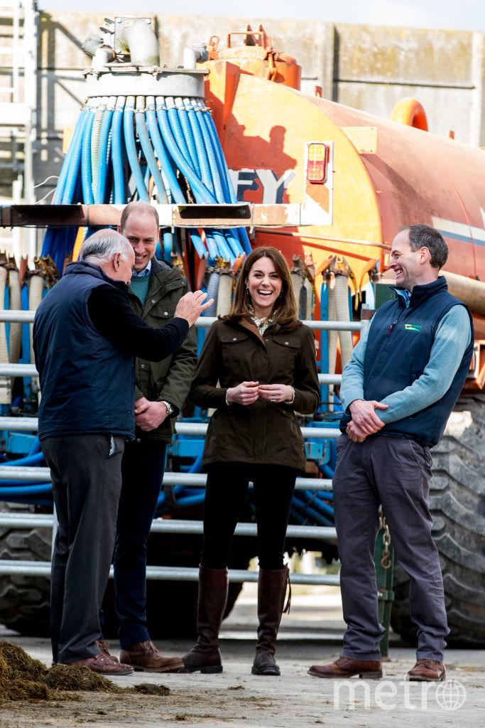 Уильям и Кейт с директором фермы Эдди О'Риорданом (слева) и специалистом по говядине Полом Кроссоном (крайний справа). Фото Getty