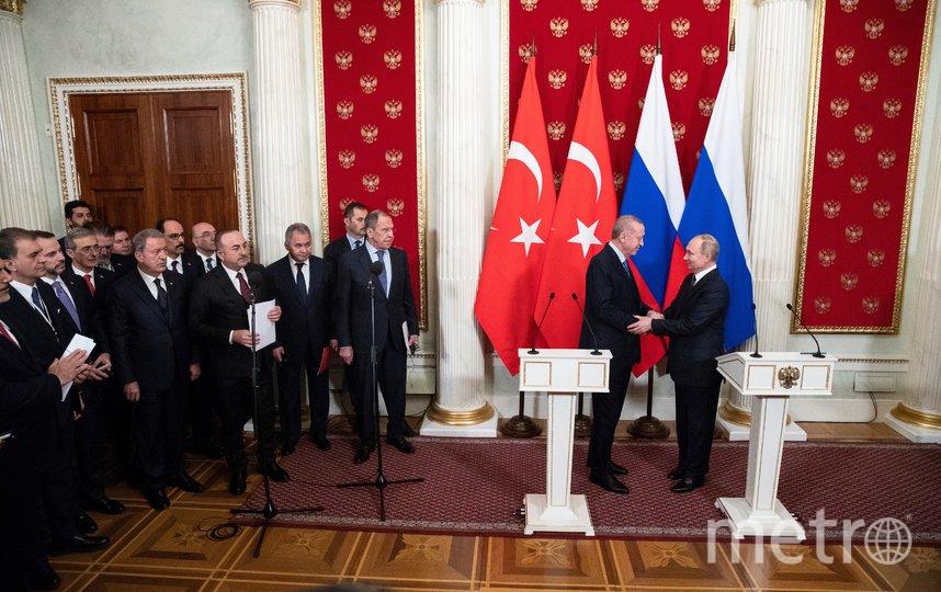 Владимир Путин и Тайип Эрдоган на пресс-подходе после переговоров. Фото AFP