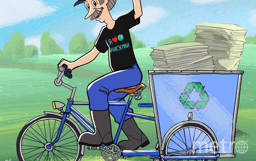 На своём велосипеде Печкин быстро соберёт и отвезёт мусор на переработку. А вы думали, почему он злился без велосипеда. Фото предоставлено WWF России