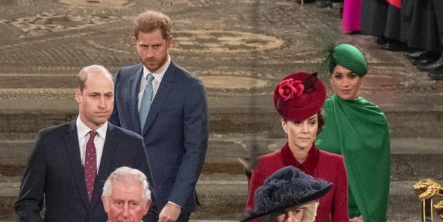 Принц Уильям, Кейт Миддлтон, Меган Маркл и принц Гарри на службе 9 марта.