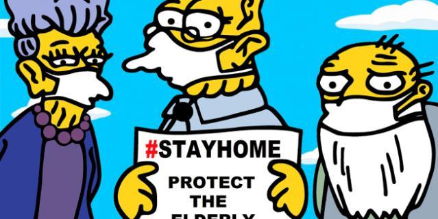 """Надпись гласит: """"Оставайтесь дома, берегите пожилых людей от Covid-19""""."""