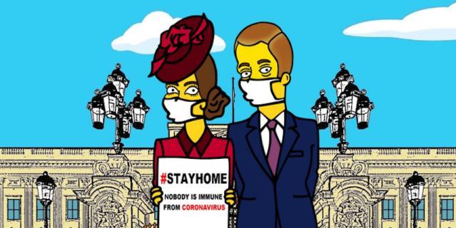Нарисованные Кейт Миддлтон и принц Уильям призывают зрителей оставаться дома.