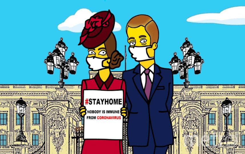 Нарисованные Кейт Миддлтон и принц Уильям призывают зрителей оставаться дома. Фото https://www.instagram.com/p/B9oiTelhsZO/ | aleXsandro Palombo