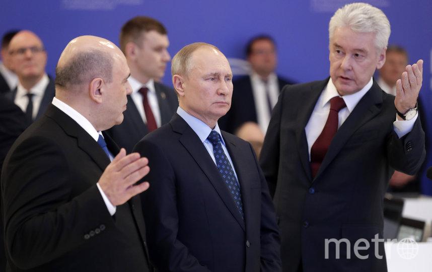 Сергей Собянин и Владимир Путин в центре по противодействию коронавирусу. Фото Getty
