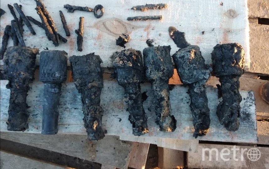 Боеприпасы, найденные в Стрельне. Фото Пресс-служба ГУ Росгвардии