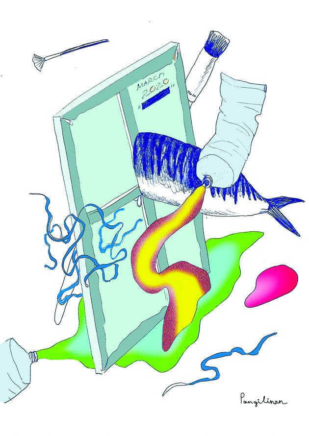 Набор для карантина №3: селёдка, морская капуста, кисти, краски, холст. Фото предоставила Пангилинан Натали-Кейт | instagram @nataliekatepangilinan