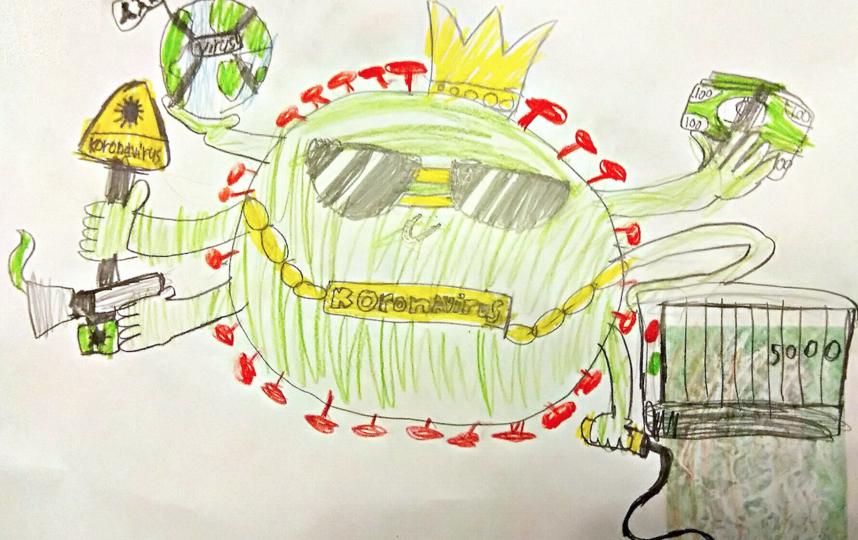 """Вот такой рисунок прислал Богдан Ермилов, 11 лет: """"Коронавирус хайпит"""" И в руках у него вся планета Земля, деньги, которые люди потратили на медикаменты и продукты, счетчик жертв, которые погибли от него"""". Фото Богдан Ермилов, 11 лет"""