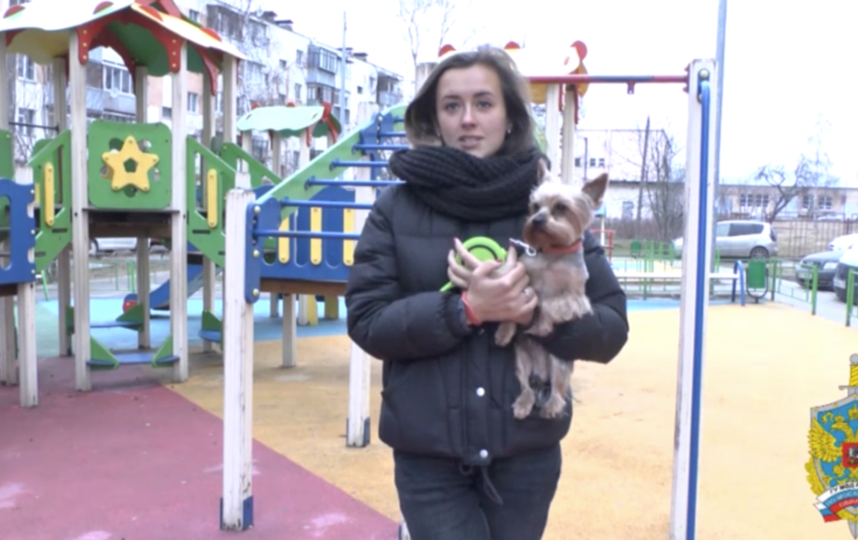 Владелицу собаки воосоединили с терьером. Фото Скриншот видео, официальный сайт МВД