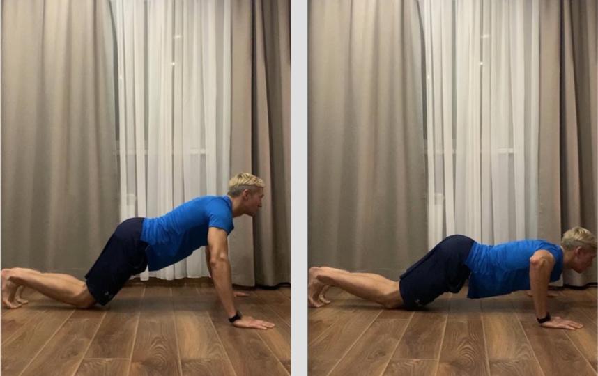 Упражнение 1. Отжимание с колен. Фото Сердар Каррыев
