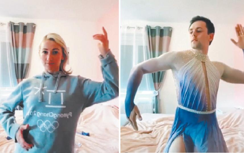 Фигуристка Алёна Савченко с мужем, который надел её платье. Фото скриншот с видео Instagram @aljonasavchenko