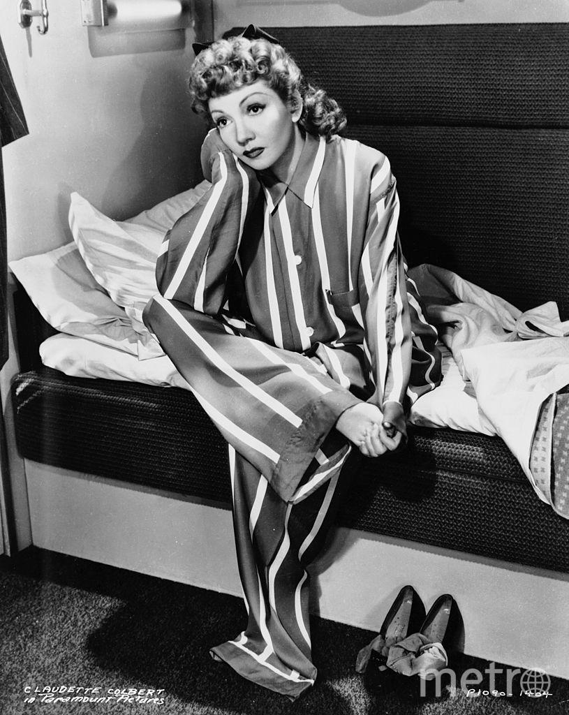 Звезды в пижамах. Клодетт Кольбер. 1942 год. Фото Getty
