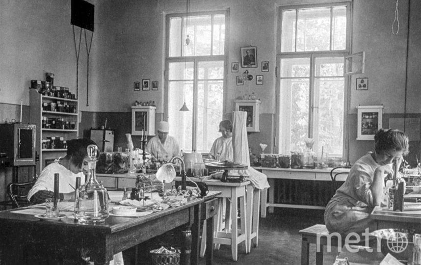 В лаборатория железнодорожной больницы имени Н.А. Семашко.Москва. 1929 г. Фото Главархив Москвы