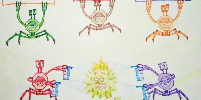 """Рисунок называется """"Кработы против коронавируса""""."""