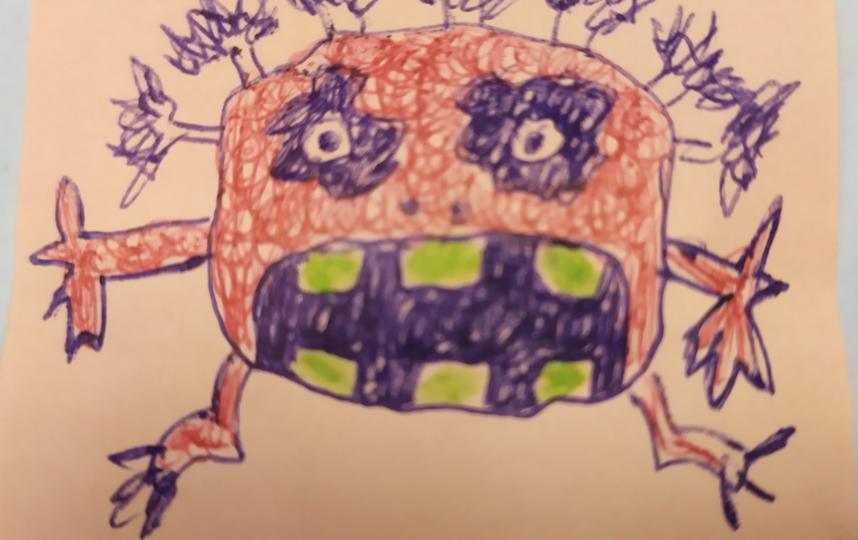 """"""" 30 марта 2020 г. 10:06 Добрый день! Вирус нарисовал мой коллега Геннадий Тихонов и приклеил на путевые листы. Меня это повеселило и подбодрило"""". Фото предоставлено Зюлькиной Екатериной"""