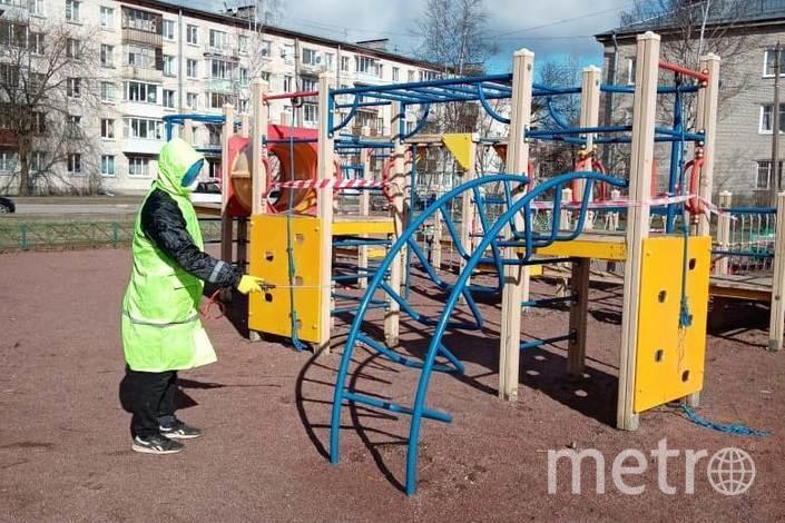 Санитарная обработка на детской площадке. Фото Новости Петродворцового района Санкт-Петербурга