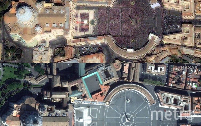 Площадь Святого Петра. Вербное воскресенье 17 апреля 2011 года (вверху) и в Вербное воскресенье 5 апреля 2020 года (внизу). Фото AFP