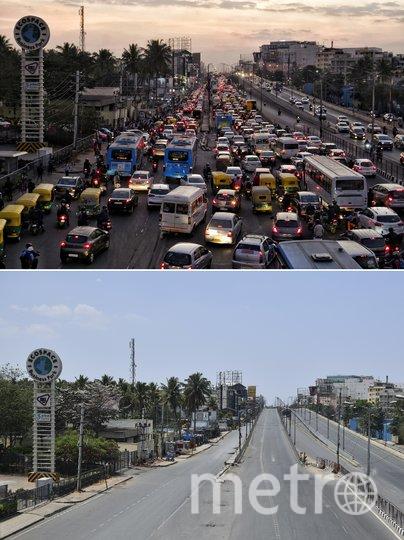 Бангалор, Индия. Сравнение трафика на дороге: 5 февраля 2020 (сверху) и 22 марта 2020 года (снизу). Фото AFP