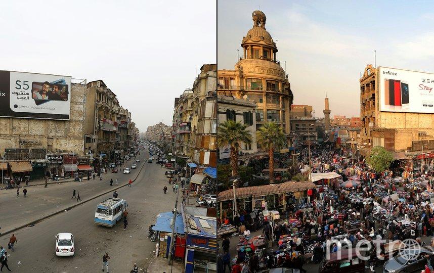 Каир, Египет. Сравнение трафика на дороге: 12 декабря 2017 года и 25 марта 2020 года. Фото AFP