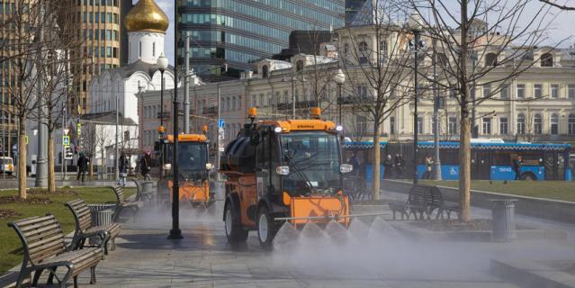 В воскресенье прошла вторая масштабная дезинфекция общественных пространств.