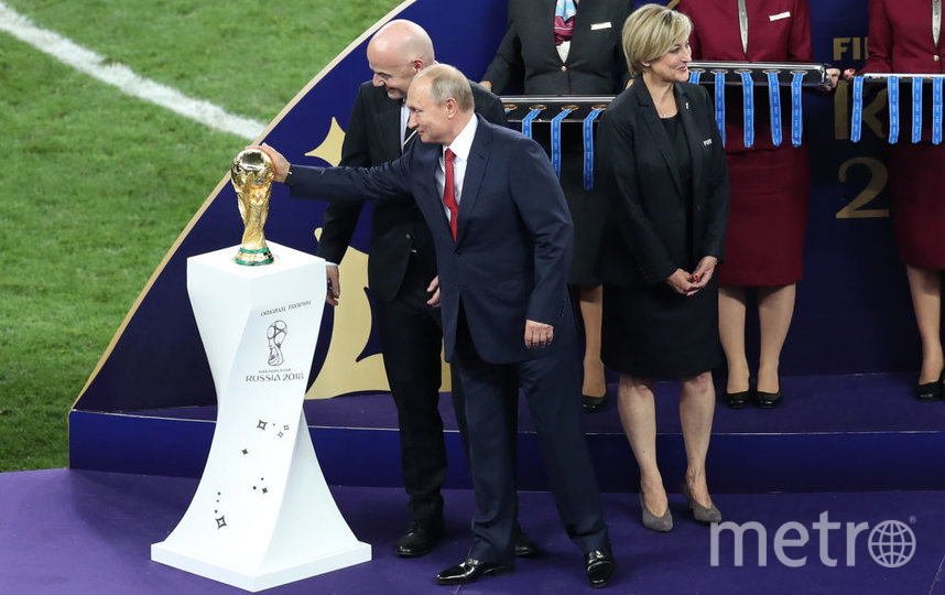 Президент РФ Владимир Путин на финальном матче ЧМ-2018. Фото Getty