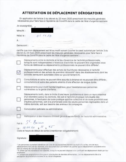 Документ, с которым Вера ходила на улицу. Фото предоставила Вера