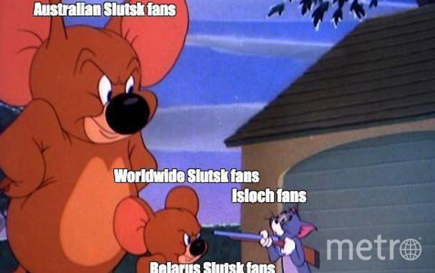 """Один из мемов символизирует большое количество фанатов """"Слуцка"""" в Австралии. Если верить картинке, то там их больше, чем в самой Белорусси."""