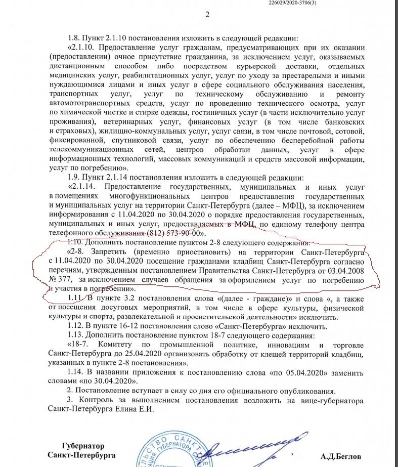 Текст документа с упоминанием о запрете посещения клабищ Петербурга.