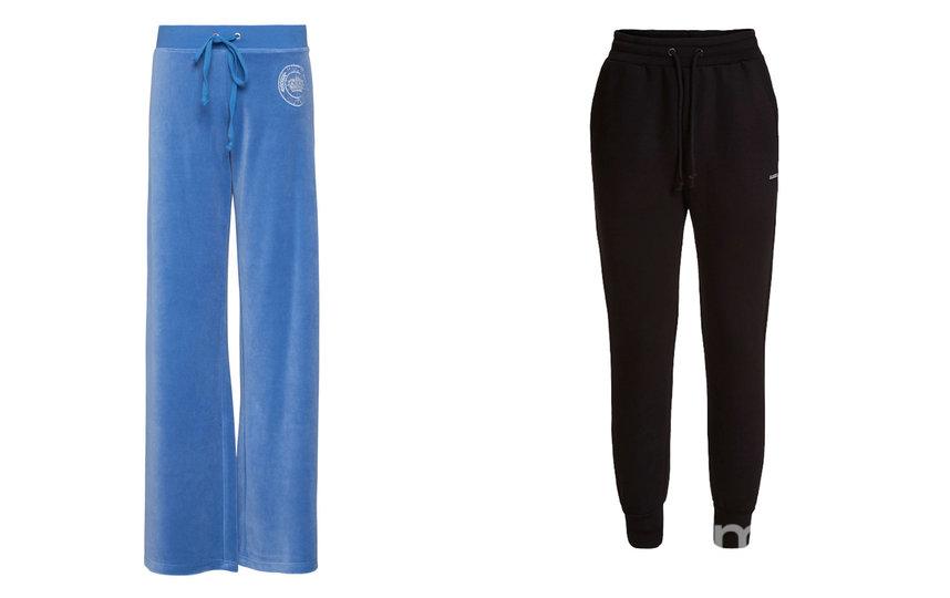 Велюровые брюки прямого кроя Juicy Couture / Брюки из скубы GUESS. Фото скриншот сайта магазина
