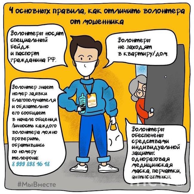 Москвичам в самоизоляции рассказали, как отличить волонтера от мошенника. Фото mos.ru