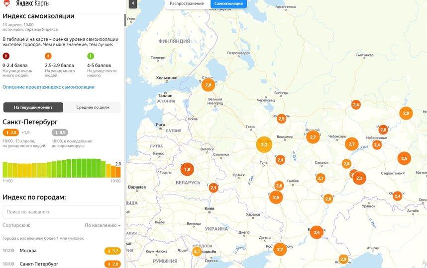 "Индекс самоизоляции на13 апреля, 10:00. Фото сервисы Яндекса, ""Metro"""