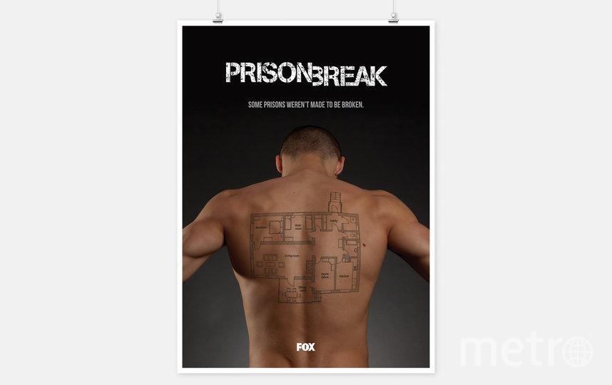 """Переосмысленный постер сериала Prison break (Побег). Слоган: """"Некоторые тюрьмы были созданы не для того, чтобы из них сбегали"""". Татуировка на спине – схема квартиры. Фото Jure Tovrljan"""