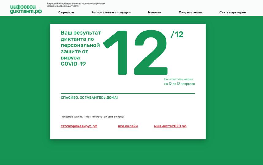 Мой результат 12 из 12 – не зря я каждый день только про COVID-19 читаю. Фото скриншот с сайта Цифровой диктант.