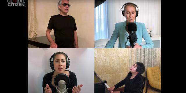 Селин Дион, Андреа Бочелли, Леди Гаги, Джона Ледженда и пианиста Лан Лана.