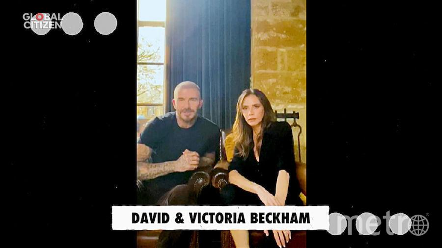 """Виктория и Дэвид Бекхэмы во время трансляции концерта """"Один мир: вместе дома"""". Фото Getty"""