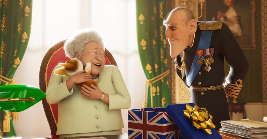Мультяшные Елизавета II и принц Филипп. Фото кадр из фильма