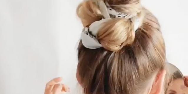 Причёска с шёлковым платком.