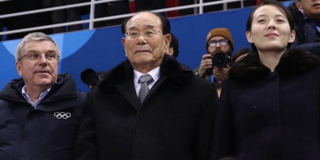 Ким Е Чжон сидела рядом с президентом МОК Томасом Бахом (слева).
