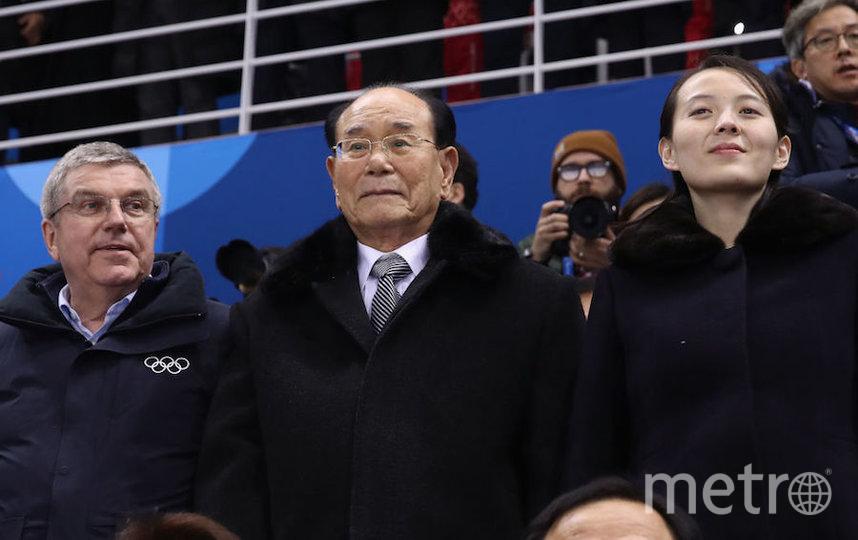 Ким Е Чжон сидела рядом с президентом МОК Томасом Бахом (слева). Фото Getty