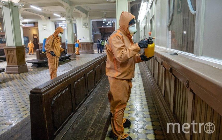 На Витебском вокзале проведена дезинфекция. Фото ОЖД