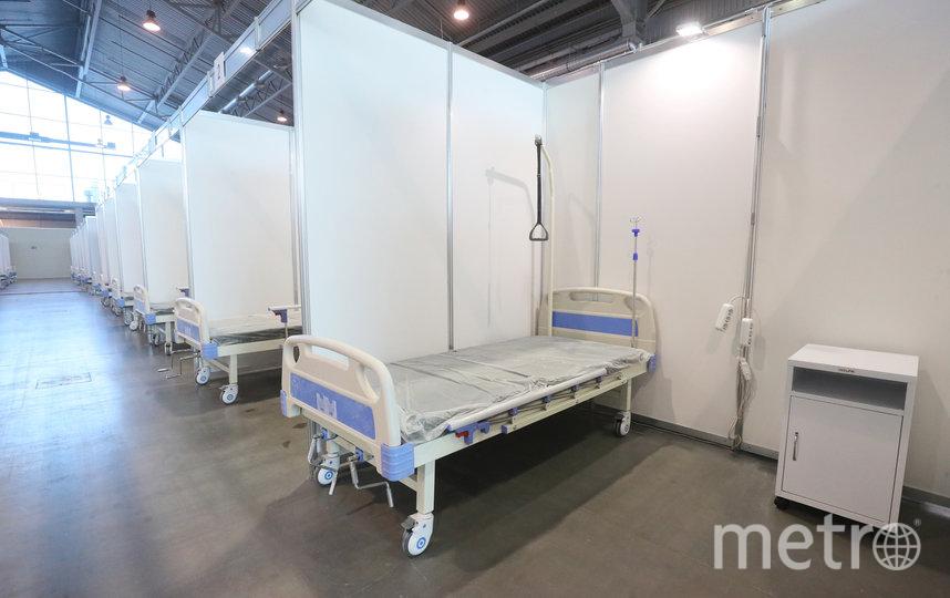 """Госпиталь в Ленэкспо готовится принять первых пациентов на следующей неделе. Фото gov.spb.ru, """"Metro"""""""