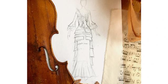 Эскиз платья-скрипки.